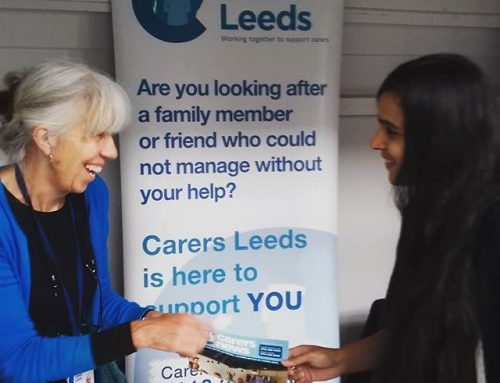 One of our fantastic carer support workers in sharing Carers Leeds info for